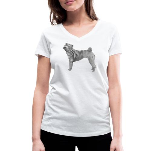 shar pei - Økologisk Stanley & Stella T-shirt med V-udskæring til damer