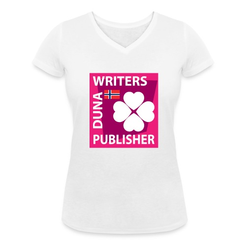 Duna Writers Publisher Pink - Økologisk T-skjorte med V-hals for kvinner fra Stanley & Stella