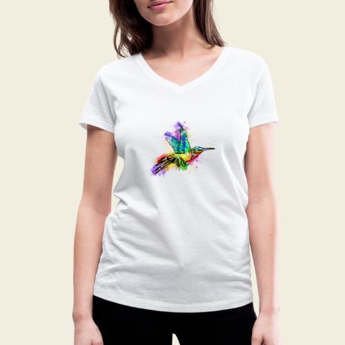 Farbexplosion Kolibri - Frauen Bio-T-Shirt mit V-Ausschnitt von Stanley & Stella