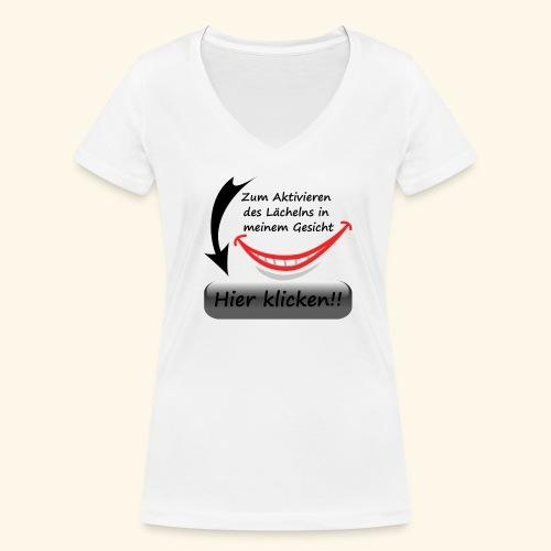 Lächeln Lachen Button Freude Gesicht Spaß flirten - Frauen Bio-T-Shirt mit V-Ausschnitt von Stanley & Stella