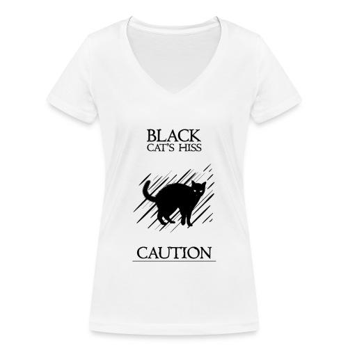black cat - Camiseta ecológica mujer con cuello de pico de Stanley & Stella