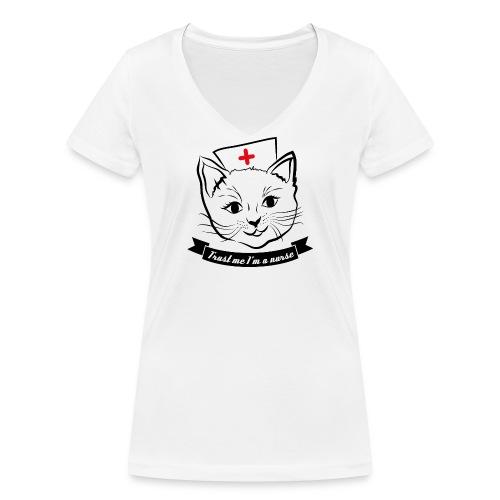 KrankenSisters Katze JK - Frauen Bio-T-Shirt mit V-Ausschnitt von Stanley & Stella