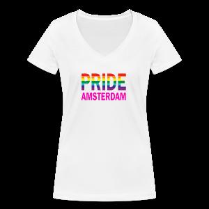 Pride Amsterdam in regenboog kleur en roze - Vrouwen bio T-shirt met V-hals van Stanley & Stella