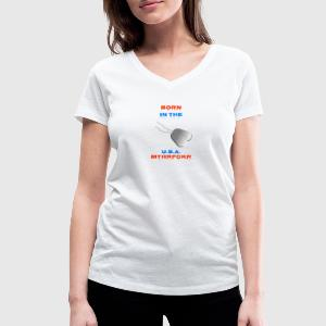 Born in the USA - Dame-T-shirt med V-udskæring