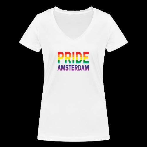 Pride Amsterdam in regenboog kleur - Vrouwen bio T-shirt met V-hals van Stanley & Stella