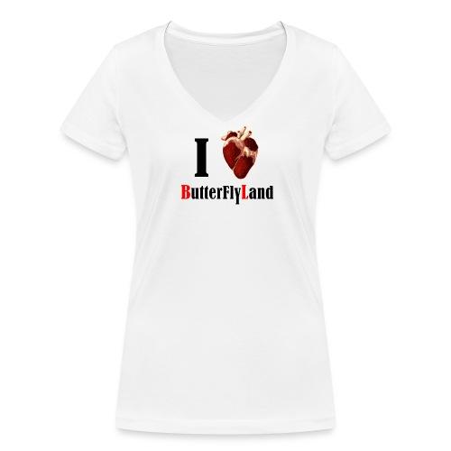 I love Butterflyland - T-shirt bio col V Stanley & Stella Femme