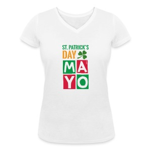 Celebrate St. Patrick's Day in Mayo - Women's Organic V-Neck T-Shirt by Stanley & Stella