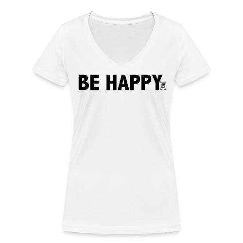 Be Happy - Vrouwen bio T-shirt met V-hals van Stanley & Stella