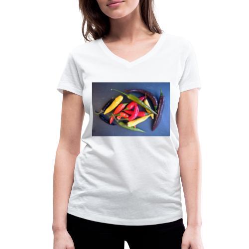 Chili bunt - Frauen Bio-T-Shirt mit V-Ausschnitt von Stanley & Stella