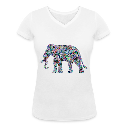 Elephant - Women's Organic V-Neck T-Shirt by Stanley & Stella