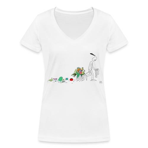 frukt og grønt handleveske - Økologisk T-skjorte med V-hals for kvinner fra Stanley & Stella
