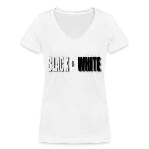 Black and White - Frauen Bio-T-Shirt mit V-Ausschnitt von Stanley & Stella