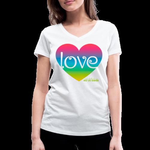 LOVE - Stanley & Stellan naisten v-aukkoinen luomu-T-paita