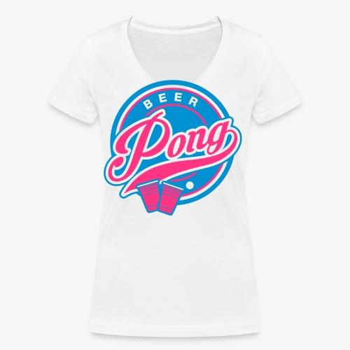 Beer Pong 70s Stil - Frauen Bio-T-Shirt mit V-Ausschnitt von Stanley & Stella