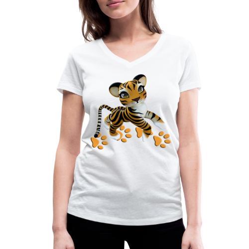 Kleiner Tiger - Frauen Bio-T-Shirt mit V-Ausschnitt von Stanley & Stella