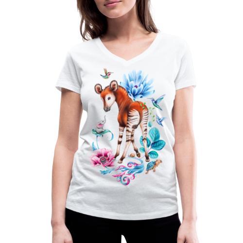 Okapi en olifant door Maria Tiqwah - Women's Organic V-Neck T-Shirt by Stanley & Stella