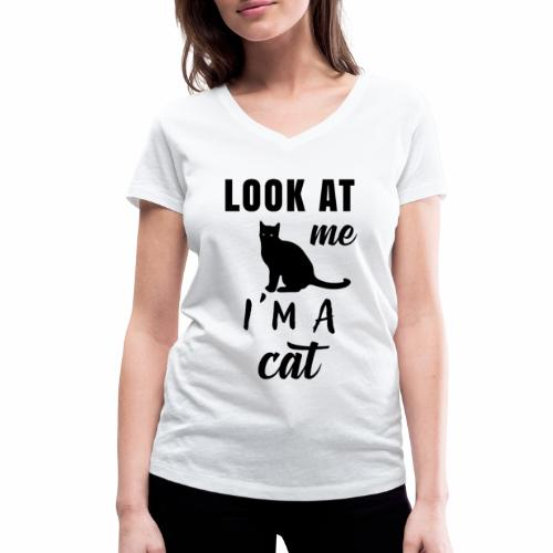 Koszulka look at me I'm a cat - Ekologiczna koszulka damska z dekoltem w serek Stanley & Stella