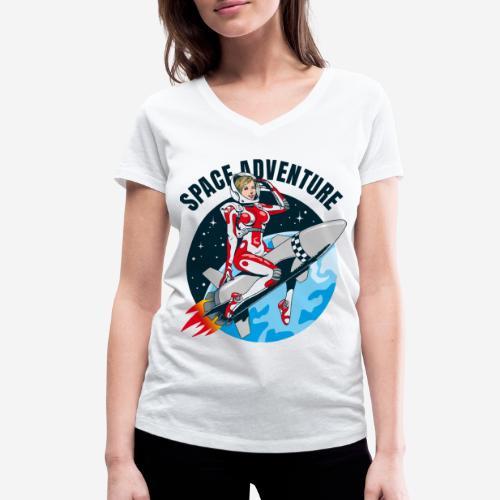 space adventure rocket girl - Frauen Bio-T-Shirt mit V-Ausschnitt von Stanley & Stella