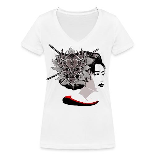 Warrior Flower - Vrouwen bio T-shirt met V-hals van Stanley & Stella