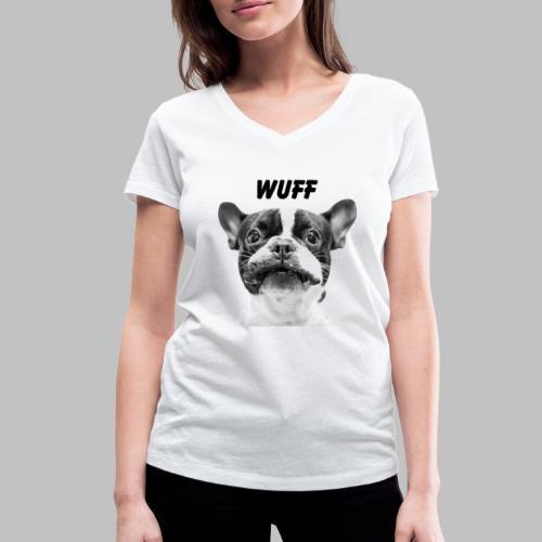 Wuff - Hundeblick - Hundemotiv Hundekopf - Frauen Bio-T-Shirt mit V-Ausschnitt von Stanley & Stella