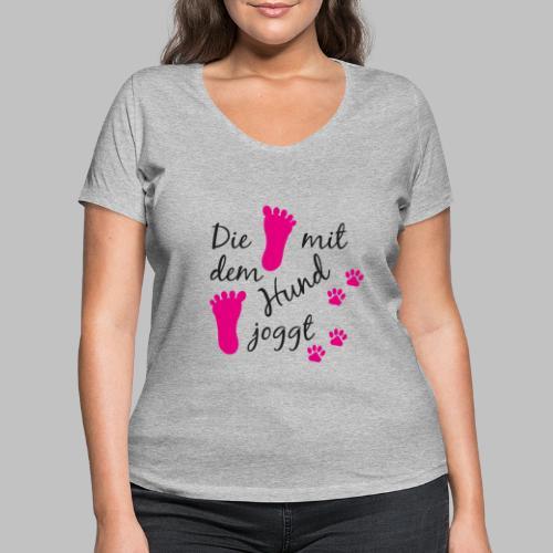 Die mit dem Hund joggt - Pink Edition - Frauen Bio-T-Shirt mit V-Ausschnitt von Stanley & Stella