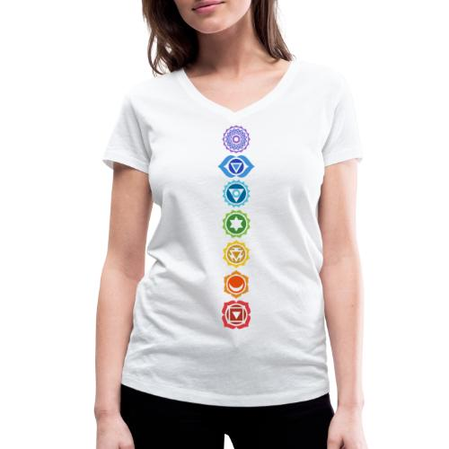 The 7 Chakras, Energy Centres Of The Body - Women's Organic V-Neck T-Shirt by Stanley & Stella