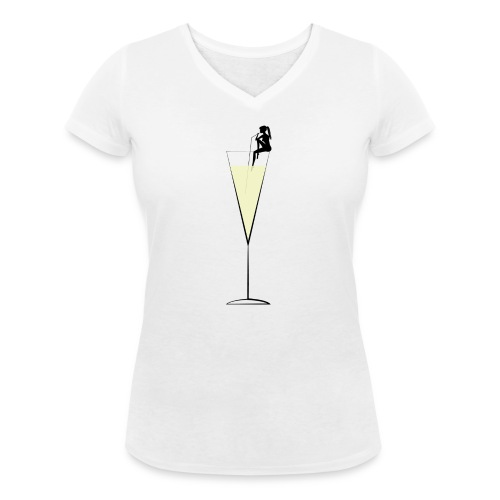 champagne png - Women's Organic V-Neck T-Shirt by Stanley & Stella