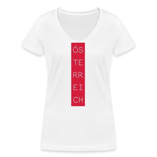 Österreich Balken hoch - Frauen Bio-T-Shirt mit V-Ausschnitt von Stanley & Stella
