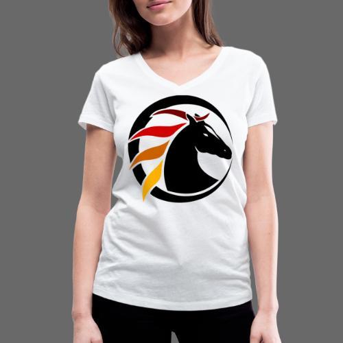 Buntes Pferdelogo - Frauen Bio-T-Shirt mit V-Ausschnitt von Stanley & Stella
