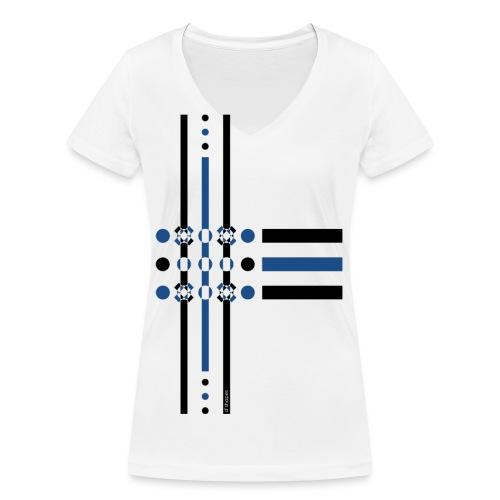q4 blu - T-shirt ecologica da donna con scollo a V di Stanley & Stella