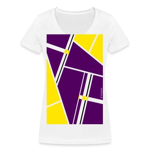 d shapes block giallo viola - T-shirt ecologica da donna con scollo a V di Stanley & Stella