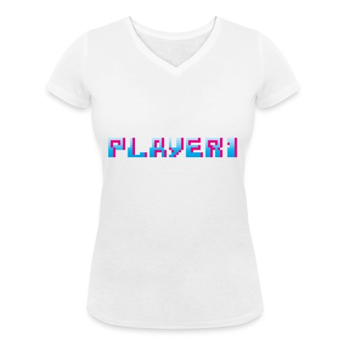 Arcade Game - Player 1 - Women's Organic V-Neck T-Shirt by Stanley & Stella