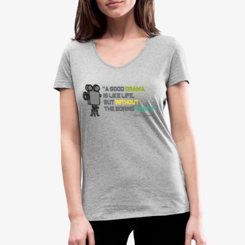 Pasión por el cine - Camiseta ecológica mujer con cuello de pico de Stanley & Stella