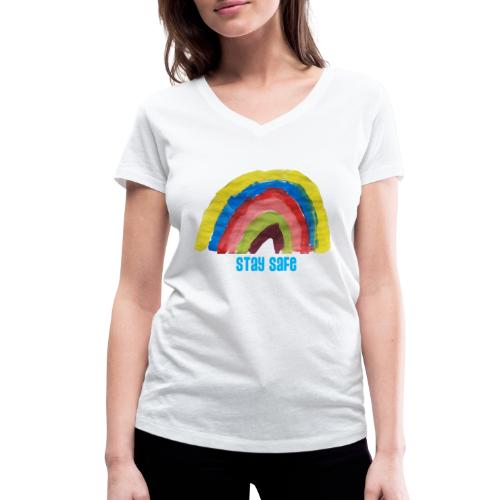Stay Safe Rainbow Tshirt - Women's Organic V-Neck T-Shirt by Stanley & Stella
