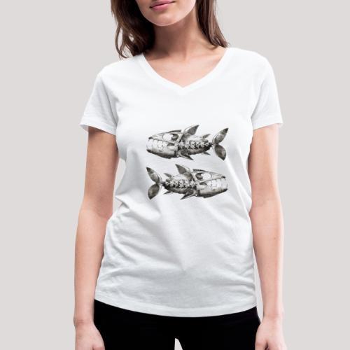 FishEtching - Women's Organic V-Neck T-Shirt by Stanley & Stella