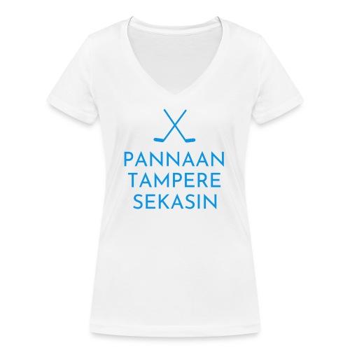 Pannaan Tampere Sekasin - Stanley & Stellan naisten v-aukkoinen luomu-T-paita