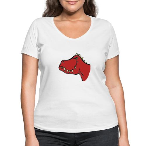 T Rex, Red Dragon - Women's Organic V-Neck T-Shirt by Stanley & Stella