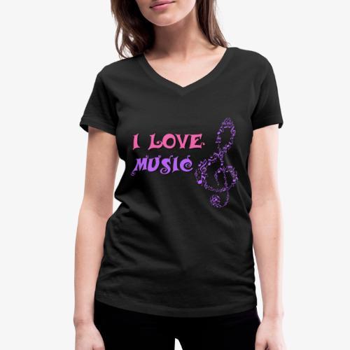 Love Music - Camiseta ecológica mujer con cuello de pico de Stanley & Stella