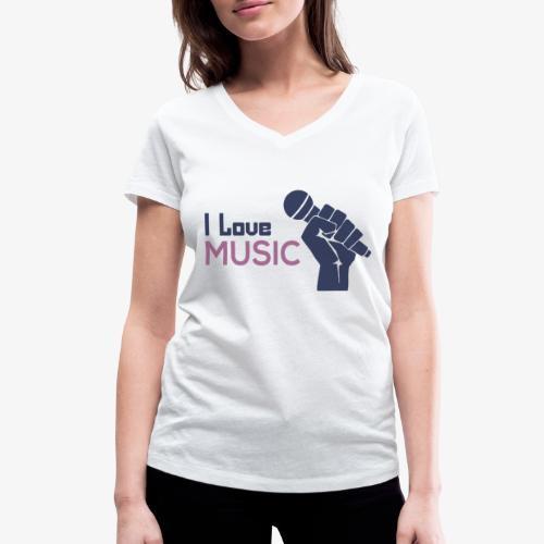 Amo la música - Camiseta ecológica mujer con cuello de pico de Stanley & Stella