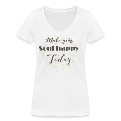 Make your soul happy today - grey mandala - Frauen Bio-T-Shirt mit V-Ausschnitt von Stanley & Stella