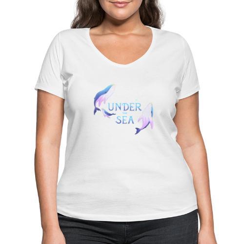 Under the Sea - Les Baleines - Women's Organic V-Neck T-Shirt by Stanley & Stella