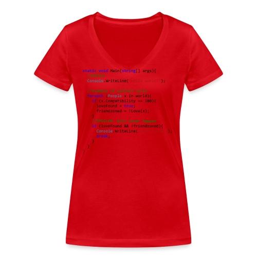 Love seen by a C# programmer - T-shirt ecologica da donna con scollo a V di Stanley & Stella