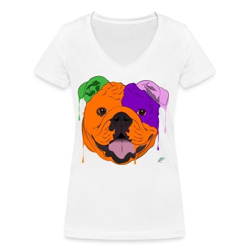 Bulldog - T-shirt ecologica da donna con scollo a V di Stanley & Stella