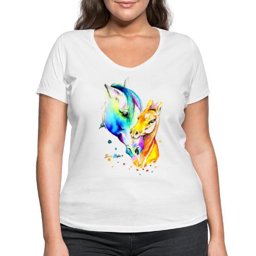 Jument et son poulain - T-shirt bio col V Stanley & Stella Femme