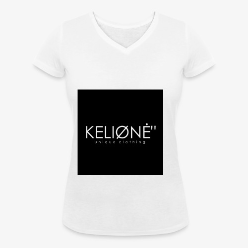 Black KELIØNĖ design - Women's Organic V-Neck T-Shirt by Stanley & Stella