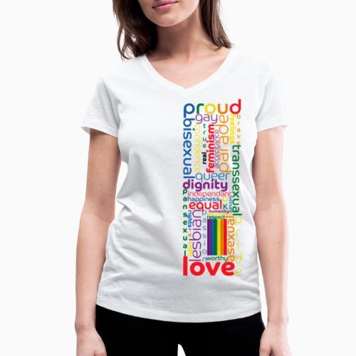 Pride Word Design - Women's Organic V-Neck T-Shirt by Stanley & Stella