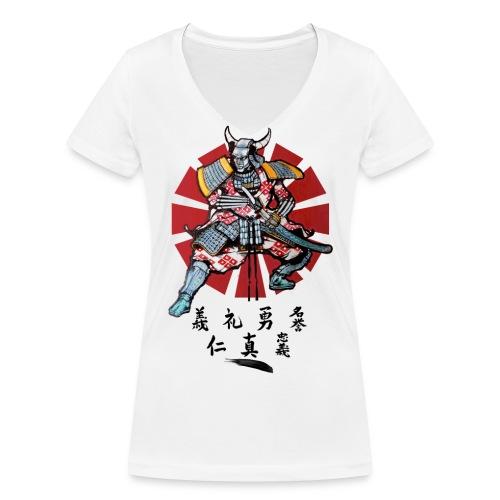 Samourai face png - T-shirt bio col V Stanley & Stella Femme