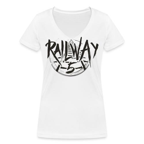Railway 5 Logo Black - Frauen Bio-T-Shirt mit V-Ausschnitt von Stanley & Stella