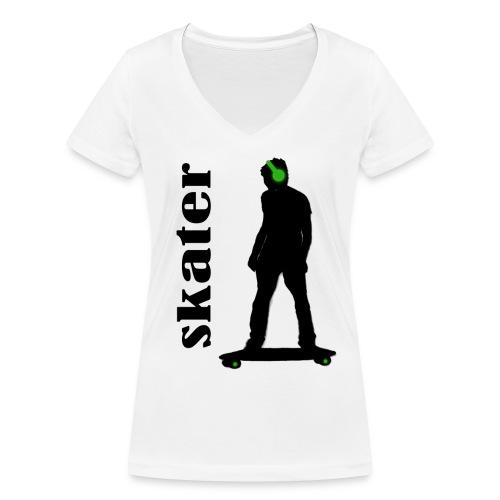 skater green copia - Camiseta ecológica mujer con cuello de pico de Stanley & Stella