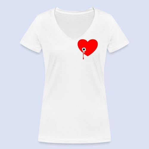 Cœur troué - T-shirt bio col V Stanley & Stella Femme